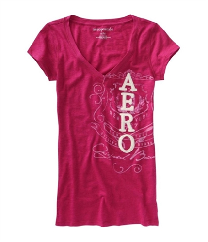 Aeropostale Womens V-neck Beaded Graphic T-Shirt pinkberry XS