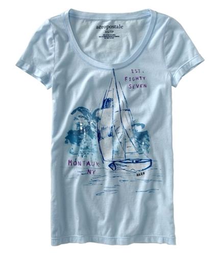 Aeropostale Womens Montauk Ny Wide Neck Graphic T-Shirt paleblueaqua XS