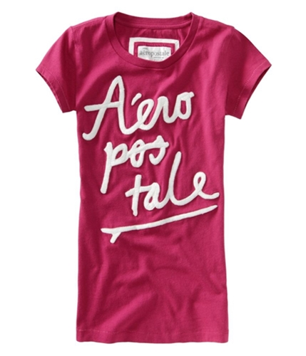 Aeropostale Womens Embroidered Graphic T-Shirt pinkveryberry M