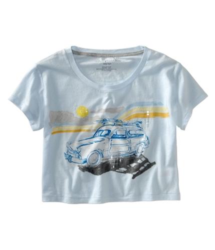 Aeropostale Womens Cropped Wide Neck Graphic T-Shirt paleblueaqua XS