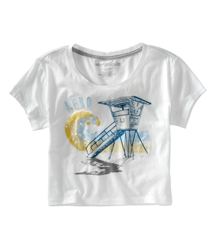 Aeropostale Womens Cropped Aero Wide Neck Graphic T-Shirt bleachwhite XS