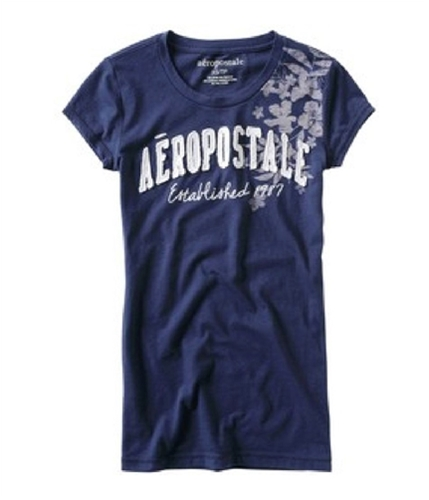 Aeropostale Womens Tropical Flowers Crewneck Graphic T-Shirt navyniblue L