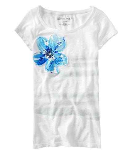 Aeropostale Womens Floral Stripe Embellished Graphic T-Shirt blcblubleach M