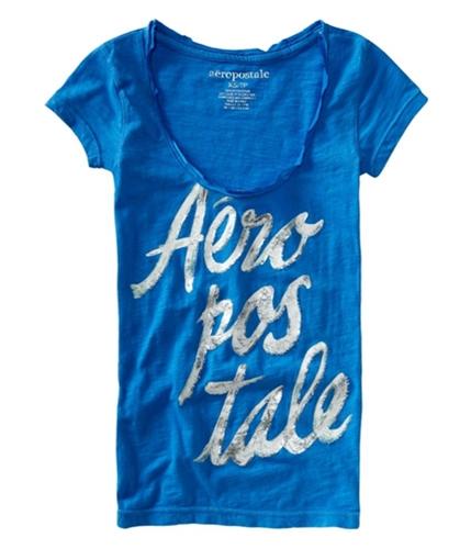 Aeropostale Womens Beaded Graphic T-Shirt heavenlyblue XS