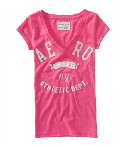 Aeropostale Womens Aero 87 Ny V-neck Graphic T-Shirt lotuspink XS
