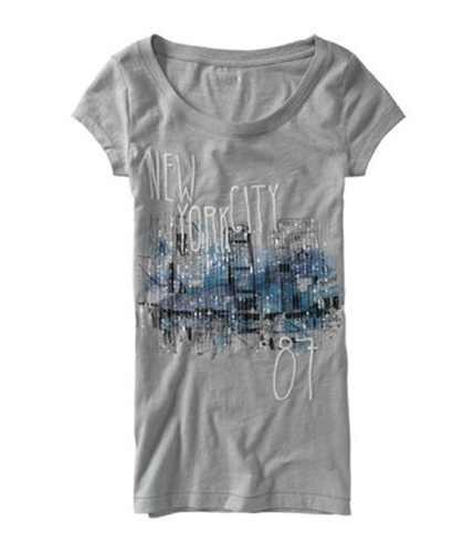 Aeropostale Womens Ny Sequined Crewneck Stitched Graphic T-Shirt patinagray S