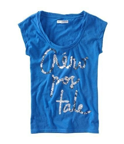 Aeropostale Womens Sequence Scoop Neck Graphic T-Shirt moringblue XL