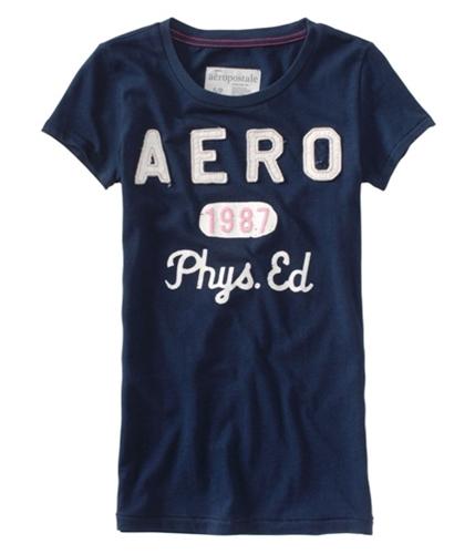 Aeropostale Womens Aero Phys Ed Crew-neck Graphic T-Shirt navyniblue XS