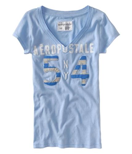 Aeropostale Womens Cut Vneck Embellished Ny #54 Graphic T-Shirt crystalblue XS