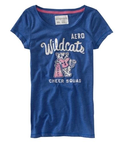 Aeropostale Womens Aero Wildcat Cheer Graphic T-Shirt bluepink XS