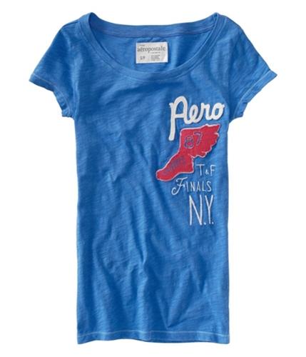 Aeropostale Womens Aero Track Field Ny Crewneck Graphic T-Shirt skydiveblue S