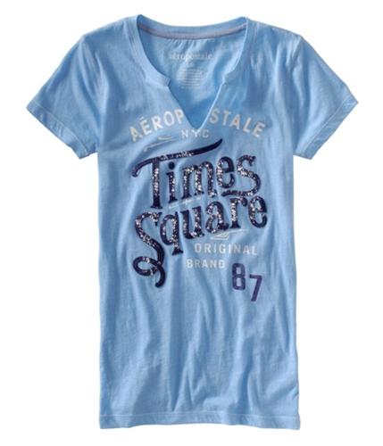 Aeropostale Womens Times Square Graphic T-Shirt crystalblue M