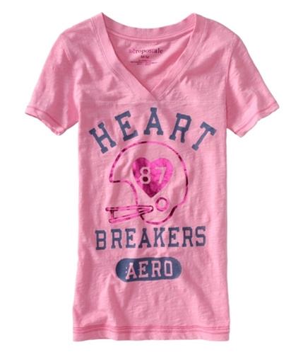 Aeropostale Womens Heart Breaker Aero #87 Shimmer Graphic T-Shirt bubbleg S