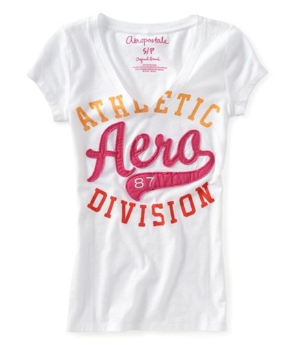 Aeropostale Womens V-neck Embroidered Graphic T-Shirt bleach XL
