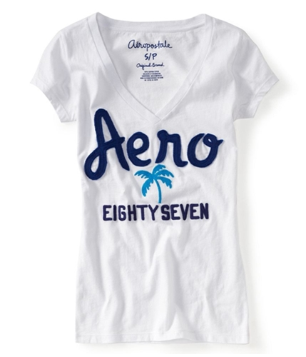 Aeropostale Womens V-neck Embroidered Palm Tree Graphic T-Shirt bleach XL