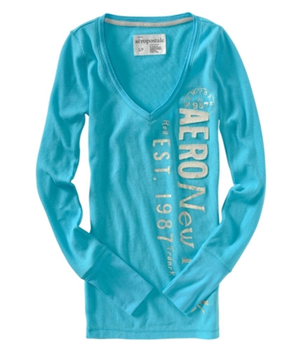 Aeropostale Womens Thermal Crew-neck V-neck Knit Sweater ocean XS