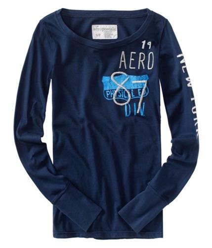 Aeropostale Womens Aero 1987 Phys Ed Graphic T-Shirt navyniblue XS