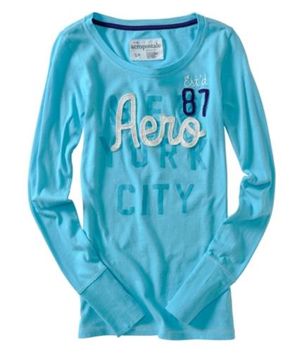 Aeropostale Womens Aero Est 87 Long Sleeve Graphic T-Shirt oceanblue S