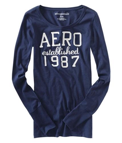Aeropostale Womens Glitter Aero Est 1987 Graphic T-Shirt navyniblue S