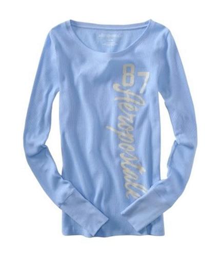 Aeropostale Womens Long Sleeve #87 Pajama Sleep T-shirt crystalblue XS
