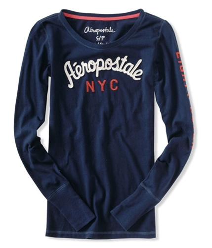 Aeropostale Womens Embroidered Graphic T-Shirt navynightblue XS