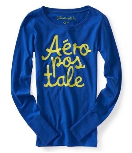 Aeropostale Womens Glitter Graphic T-Shirt blue XS