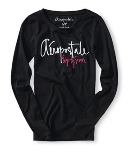 Aeropostale Womens Cript Letter Graphic T-Shirt black XS