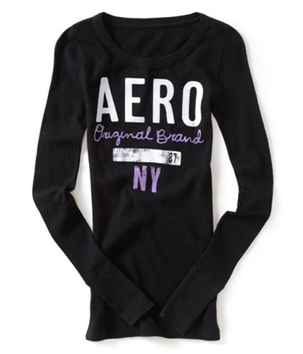 Aeropostale Womens Distressed Thermal Sweater black XS