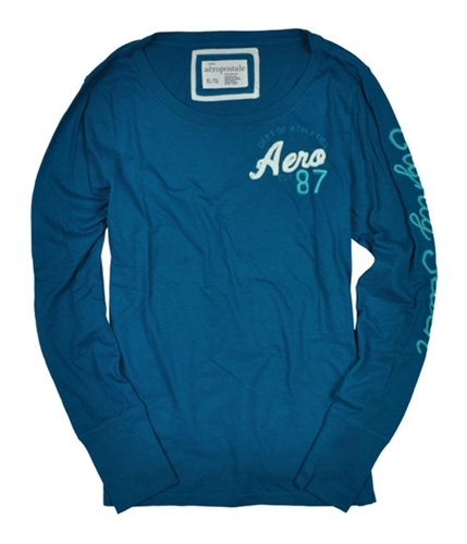Aeropostale Womens Crew Long Sleeve Graphic T-Shirt peacockgreen XL