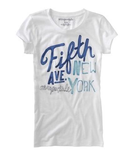 Aeropostale Womens Ny Inspired Graphic T-Shirt blcblue S