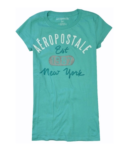 Aeropostale Womens Est 1987 New York Print Graphic T-Shirt paleaqua S
