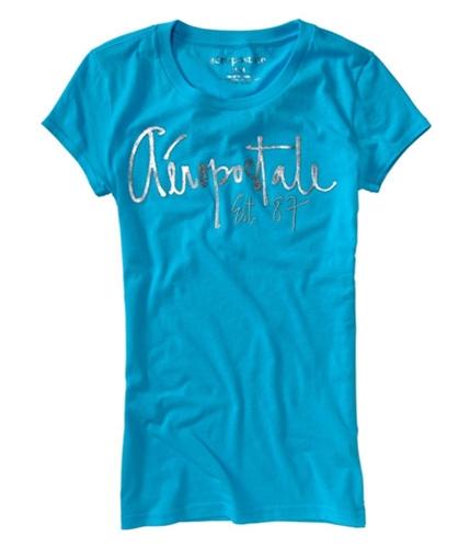 Aeropostale Womens Shimmer Graphic T-Shirt curacaoaqua XS