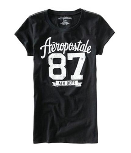 Aeropostale Womens #87 Athletic Dept Graphic T-Shirt black M
