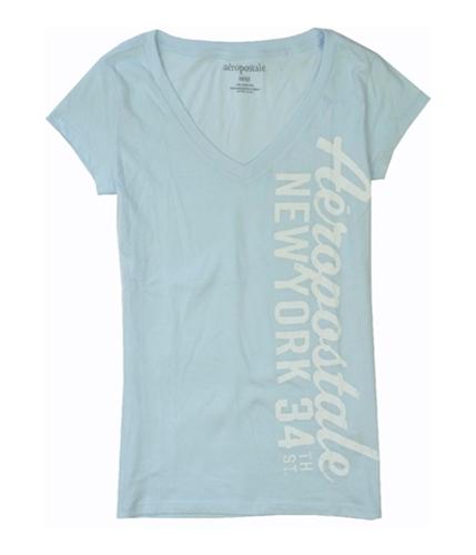 Aeropostale Womens V-neck Ny Screen Print Graphic T-Shirt paleblue S