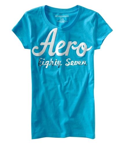 Aeropostale Womens Puff Paint Aero Graphic T-Shirt curacaoaqua XS