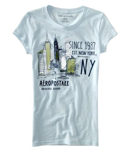 Aeropostale Womens Est New York Graphic T-Shirt paleblueaqua M