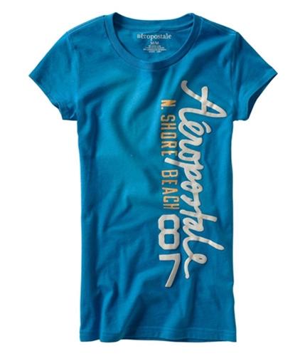 Aeropostale Womens N. Shore Puff Paint Graphic T-Shirt bluedu S