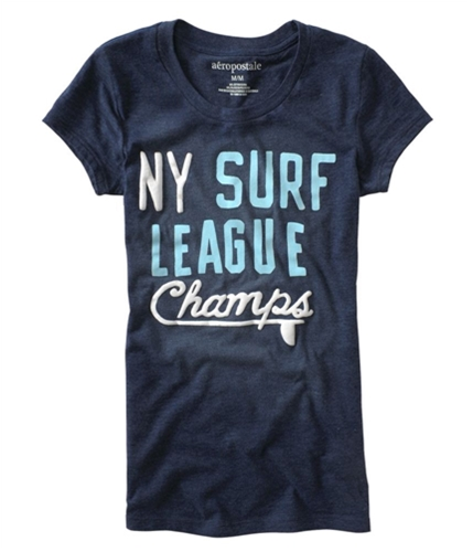 Aeropostale Womens Puff Paint Graphic T-Shirt navyblue XS
