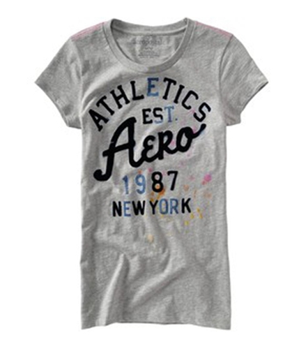 Aeropostale Womens Aero Embellished Athletic Graphic T-Shirt lththr M
