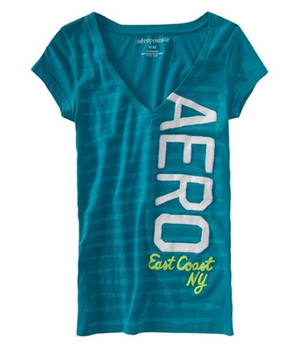 Aeropostale Womens Aero Vertical Graphic T-Shirt tealsurfaqua M