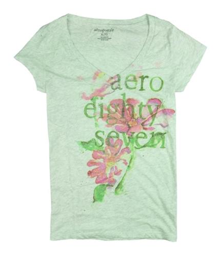 Aeropostale Womens Sparkle Floral Graphic T-Shirt lightestgray L