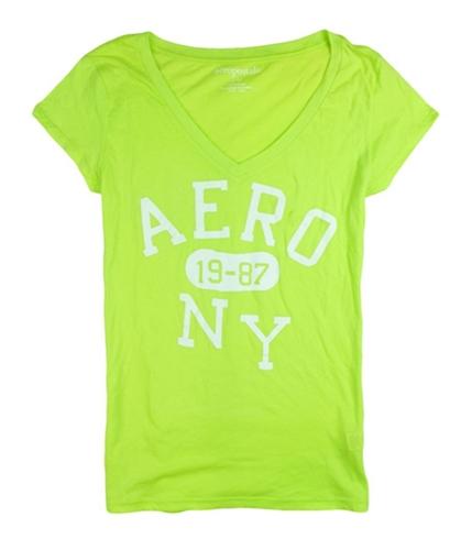 Aeropostale Womens Aero 1987 Ny V-neck Graphic T-Shirt limegr XS