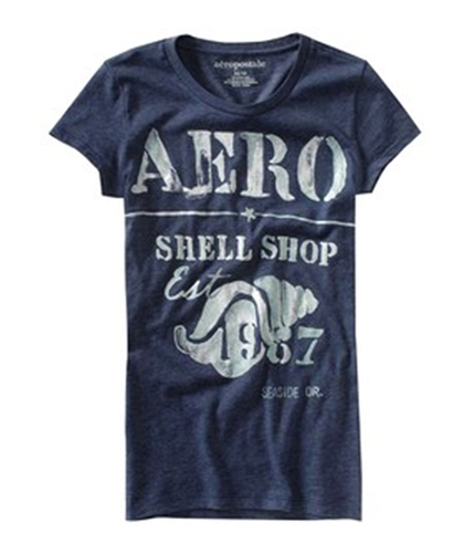 Aeropostale Womens Dolphin Pier Est 87 Crewneck Graphic T-Shirt navyni S