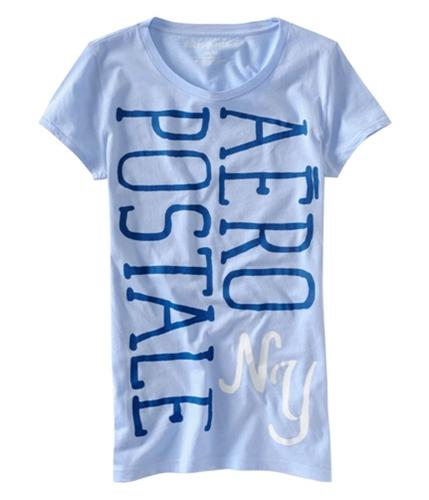 Aeropostale Womens Ny Print Crew-neck Graphic T-Shirt crystalblue XS