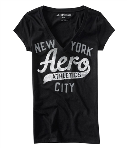 Aeropostale Womens Aero New York Glitter Graphic T-Shirt black L