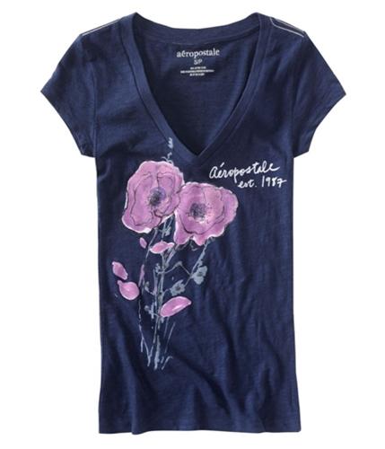 Aeropostale Womens Glitter Floral Est 1987 Graphic T-Shirt navyniblue M