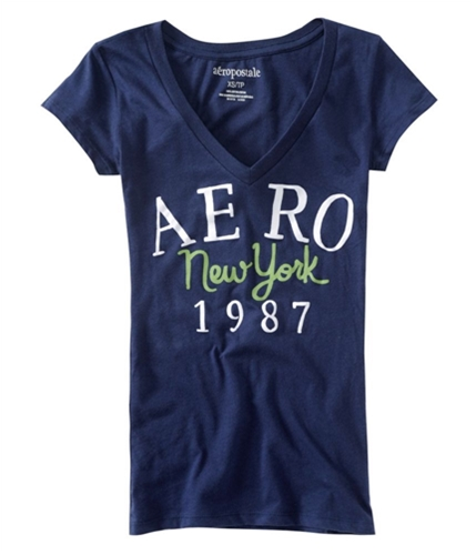 Aeropostale Womens Aero New York 1987 V-neck Graphic T-Shirt navyni XS