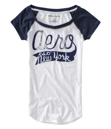 Aeropostale Womens Shimmer Aero Est New York Graphic T-Shirt navyniblue XS
