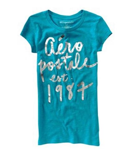 Aeropostale Womens Shimmer 1987 Graphic T-Shirt blueti S