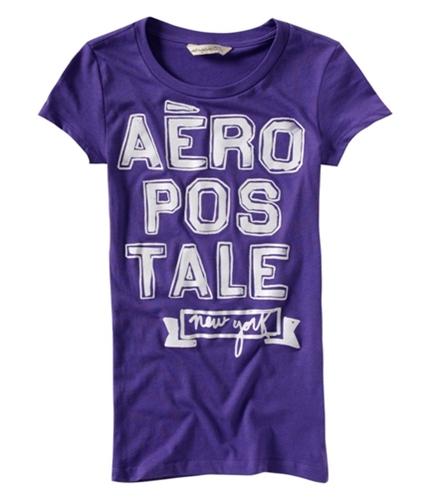 Aeropostale Womens Large Print Crew-neck Graphic T-Shirt purple M